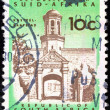 "SOUTH AFRICA - CIRCA 1961: A stamp printed in South Africa from the ""Republic"" issue shows Cape Town Castle entrance, circa 1961. — Stock Photo #13365626"