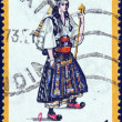 "GREECE - CIRC1972: stamp printed in Greece from ""Traditional Greek Costumes 1st part"" issue shows Pindus bride, circ1972. — Stock Photo #13365645"