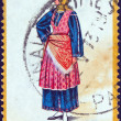 "GREECE - CIRCA 1972: A stamp printed in Greece from the ""Traditional Greek Costumes 1st part"" issue shows a woman from Trikeri (rural), circa 1972. — Stock Photo"