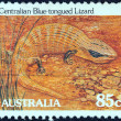 "AUSTRALIA - CIRCA 1981: A stamp printed in Australia from the ""Wildlife"" issue shows a Centralian blue-tongued lizard, circa 1981. — Stock Photo #13365675"
