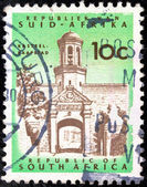 "SOUTH AFRICA - CIRCA 1961: A stamp printed in South Africa from the ""Republic"" issue shows Cape Town Castle entrance, circa 1961. — Stock Photo"