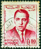 MOROCCO - CIRCA 1962: A stamp printed in Morocco shows a portrait of King Hassan II, circa 1962. — Stock Photo