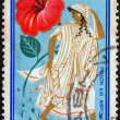 "GREECE - CIRCA 1958: A stamp printed in Greece from the ""International Congress for Protection of Nature, Athens"" issue shows Venus and Adonis (Venus and hibiscus), circa 1958. — Stock Photo"