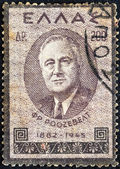 "GREECE - CIRCA 1945: A stamp printed in Greece from the ""Roosevelt Mourning"" issue shows US President Franklin Roosevelt, circa 1945. — Stock Photo"