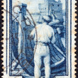 "ITALY - CIRC1950: stamp printed in Italy from ""Provincial Occupations"" issue shows Boat builder (Liguria), circ1950. — Stockfoto #13474354"