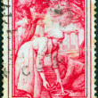 "ITALY - CIRC1950: stamp printed in Italy from ""Provincial Occupations"" issue shows Gathering olives (Basilicata), circ1950. — Stockfoto #13474356"