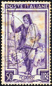 """ITALY - CIRCA 1950: A stamp printed in Italy from the """"Provincial Occupations"""" issue shows a Shepherd (Sardinia), circa 1950. — Stock Photo"""