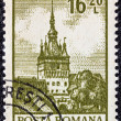 """ROMANIA - CIRCA 1972: a stamp printed in Romania from the """"Definitives I - Buildings"""" shows the Clock Tower, Sighisoara, circa 1972. — Stock Photo"""
