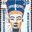 "GERMANY - CIRCA 1987: A stamp printed in Germany from the ""Tourist Sights"" issue shows the Head of Nefertiti, Berlin Museum, circa 1987. — Stock Photo"