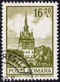 "ROMANIA - CIRCA 1972: a stamp printed in Romania from the ""Definitives I - Buildings"" shows the Clock Tower, Sighisoara, circa 1972. — Stockfoto"