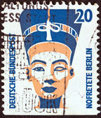 """GERMANY - CIRCA 1987: A stamp printed in Germany from the """"Tourist Sights"""" issue shows the Head of Nefertiti, Berlin Museum, circa 1987. — Stock Photo"""