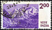 INDIA - CIRCA 1974: A stamp printed in India shows the Himalayas, circa 1974. — Stock Photo