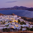 Plaka village dusk panorama, Milos island, Cyclades, Greece — Stock Photo
