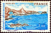 "FRANCE - CIRCA 1976: A stamp printed in France from the ""Tourist Publicity"" issue shows Basque coast, Biarritz, circa 1976. — Stock Photo"