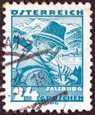 "AUSTRIA - CIRCA 1934: A stamp printed in Austria from the ""Costumes"" issue shows a man from Salzburg, circa 1934. — Zdjęcie stockowe"