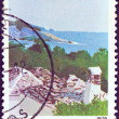 "GREECE - CIRCA 1979: A stamp printed in Greece from the ""Landscapes"" issue shows Thasos island, circa 1979. - Stock Photo"