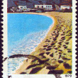 "GREECE - CIRCA 1979: A stamp printed in Greece from the ""Landscapes"" issue shows a beach from Ios island, circa 1979. — Stock Photo"