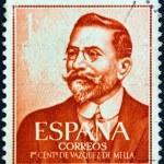 SPAIN - CIRCA 1961: A stamp printed in Spain issued for the birth Centenary of Juan Vazquez de Mella shows politician and writer Vazquez de Mella, circa 1961. — Stock Photo