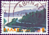 "GREECE - CIRCA 1979: A stamp printed in Greece from the ""Landscapes"" issue shows Sithonia peninsula, Chalkidiki, circa 1979. — Stock Photo"