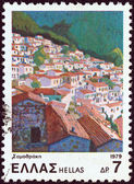 "GREECE - CIRCA 1979: A stamp printed in Greece from the ""Landscapes"" issue shows Samothrace island, circa 1979. — Stock Photo"