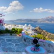 Balcony with a view, Plaka village, Milos island, Cyclades, Greece — Stock Photo