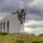 Distomo Memorial under a dramatic sky, Boeotia, Greece — Stock Photo #13735886