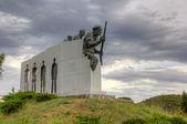 Distomo Memorial under a dramatic sky, Boeotia, Greece — Stock Photo