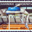 GREECE - CIRCA 1985: A stamp printed in Greece issued for the 16th European indoor athletics championships, New Phaleron, shows a high jump athlete, circa 1985. — Stock Photo