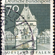 "GERMANY - CIRCA 1966: A stamp printed in Germany from the ""Historic Buildings"" issue shows Osthofen Gate, Soest, circa 1966. — Stock Photo"