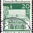 "GERMANY - CIRCA 1966: A stamp printed in Germany from the ""Historic Buildings"" issue shows Carolingian gatehall, Lorsch, circa 1966. — Stock Photo #13849436"