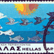 "Stock Photo: GREECE - CIRC1977: stamp printed in Greece from ""Environmental Protection"" issue shows Birds and fishes, circ1977."