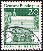 "GERMANY - CIRCA 1966: A stamp printed in Germany from the ""Historic Buildings"" issue shows Carolingian gatehall, Lorsch, circa 1966. — Stock Photo"
