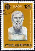 """CYPRUS - CIRCA 1980: A stamp printed in Cyprus from the """"Europa"""" issue shows Zeno of Citium founder of Stoic philosophy, circa 1980. — Stock Photo"""