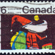 "CANADA - CIRCA 1970: A stamp printed in Canada from the ""Christmas. Children's Drawings"" issue shows Santa Claus (E. Bhattacharya), circa 1970. — Stock Photo"