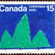 "CANADA - CIRCA 1975: A stamp printed in Canada from the ""Christmas"" issue shows  Trees (R. Kowalski), circa 1975. — Stock Photo"