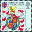 "UNITED KINGDOM - CIRCA 1984: A stamp printed in United Kingdom from the ""500th Anniversary of College of Arms"" issue shows Arms of King Richard III (founder), circa 1984. — Stock Photo"