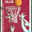 GREECE - CIRCA 1979: A stamp printed in Greece issued for the 21st European Basketball Championship shows a basketball game, circa 1979. — Stock Photo