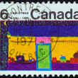 "CANADA - CIRCA 1970: A stamp printed in Canada from the ""Christmas. Children's Drawings"" issue shows Toy Shop (N. Whateley), circa 1970. — Stock Photo"