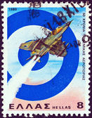 GREECE - CIRCA 1980: A stamp printed in Greece issued for the 50th anniversary of Air Force shows a Dassault Mirage III Jet Fighter and Greek Air Force emblem, circa 1980. — Stock Photo