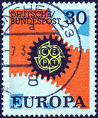 """GERMANY - CIRCA 1967: A stamp printed in Germany from the """"Europa"""" issue shows Cogwheels, circa 1967. — Stock Photo"""