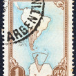 ARGENTINA - CIRCA 1951: A stamp printed in Argentina shows map of Argentina and Antarctic territories, circa 1951. — Stock Photo