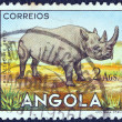 "ANGOLA - CIRCA 1953: A stamp printed in Angola from the ""Angolan fauna"" issue shows a Black Rhinoceros, circa 1953. - Stock Photo"