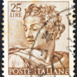 Постер, плакат: ITALY CIRCA 1961: A stamp printed in Italy from the Michelangelo issue shows the head of prophet Isaiah from Sistine Chapel circa 1961
