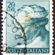 "ITALY - CIRCA 1961: A stamp printed in Italy from ""Michelangelo& quot; issue shows the head of Libyan Sibyl from Sistine Chapel, circa 1961. — Stock Photo"