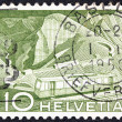 SWITZERLAND - CIRCA 1949: A stamp printed in Switzerland shows train track to Rochers de Naye, circa 1949. — Stock Photo