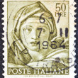 "ITALY - CIRCA 1961: A stamp printed in Italy from ""Michelangelo"" issue shows the head of Delphic Sibyl from Sistine Chapel, circa 1961. — Stock Photo"