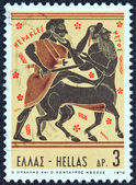 "GREECE - CIRCA 1970: A stamp printed in Greece from the ''Hercules"" issue shows Hercules killing centaur Nessus, circa 1970. — Stock Photo"