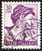 "ITALY - CIRCA 1961: A stamp printed in Italy from the ""Michelangelo"" issue shows the head of Erythraean Sibyl from Sistine Chapel, circa 1961. — Stock Photo"