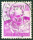 "ITALY - CIRCA 1961: A stamp printed in Italy from ""Michelangelo"" issue shows the head of Prophet Joel from Sistine Chapel, circa 1961. — Stock Photo"