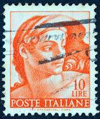 """-1961 dolaylarında İtalya: İtalya ' """"michelangelo"""" sorunu basılmış damga bir 1961 dolaylarında sistine Şapeli, gelen """"ignudi"""" gösterir. — Stok fotoğraf"""